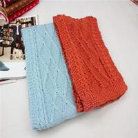 2013 scarf knitted solid color scarf muffler rhombus yarn thick scarf blue orange