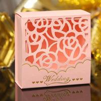 Free Shipping 100pcs Elegant  Cut-out Rose Wedding Favor Box/Candy Box/Wedding Box/Garden Supplies