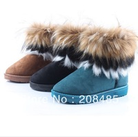 New Short Women Boots Hot-selling fox fur snow boots thermal boots short cotton boots