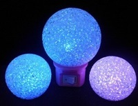 Colorful 10cm crystal ball energy saving lamp colorful led night light plug in night light with switch wall lamp
