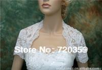 Free shipping!Very High quality lace short Sleeves Bridal white Jacket / Wedding Wrap / Bolero Jacket