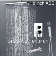 Wholesale And Retail Promotion Luxury Wall Mounted Chrome Rain Shower Faucet Set Bathtub Mixer Tap Hand Shower