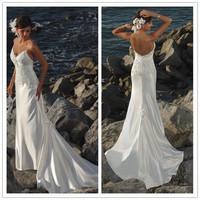2015 New Free Shipping Stretch Satin Spaghetti Strap Beading Sheath Applique White / Ivory Beach Wedding Dresses # 1131