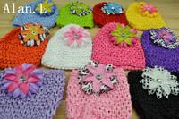 "2013 New Style lOVELY ( 22pc/lot)  5""  Baby Girl's Crochet Beanies Hat + 2.5"" Baby  girl's Zebra lily Flower clips FREE SHIPPING"