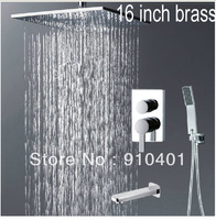 "Wholesale And Retail Promotion Luxury 16""(40cm) Rain Shower Bathtub Faucet Set Shower Head With Hand Shower Tap"