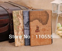 .Best-selling Map Design Standing Leather Case For iPad air 50pcs/lot DHL EMS free shipping