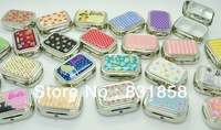 Portable Metal Pill Box with a Small Box Storage  False Eyelash and Cosmetic Mirror