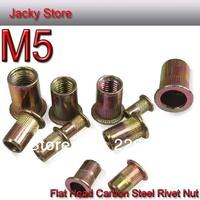 Free Shipping 500PCS /LOT M5 Rivet Nut Flat Head Carbon Steel Rivet Nut Insert Nut/tuerca de remache