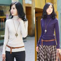Korean Women Lady Bottoming T-shirt Turtlenck Long Sleeve Ruffles T-Shirt 7 Colors
