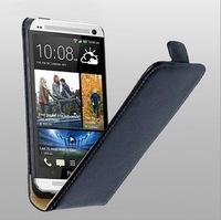 High Quality Up and Down Flip Phone Leather Case for HTC One M7 Phone Free Drop Shipping