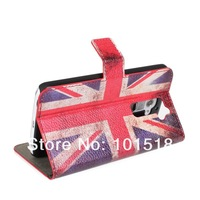 10pcs/lot &Free shipping UK/USA national flag wawith stand and card slot leather case For LG Optimus G2 E940