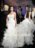 Gorgeous Spaghetti Floor Length Organza Fabric Kim Kardashian Ruffles Mermaid Wedding Dresses 2013 Free Shipping