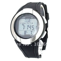 Heart Rate Wristwatch with LCD Monitor/Clock/Calorie Counter/Stopwatch/EL Backlight-Black and silvery sport men