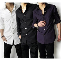New Luxury Stylish Mens Casual Dress Slim Fit Shirts 3 Colours 5 Size