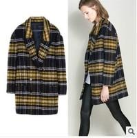 Brand Z Autumn Newest European Bodycon Medium-Long Length Plaid Pattern Wool Fashion Joker Trench Coat
