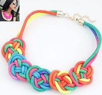 Min order $10(Mix order)Chinese knot metal fluorescent color flowers temperament  Collar Necklace sweater chain  fashion jewelry