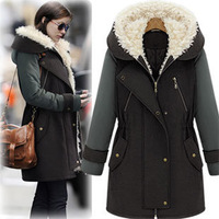 2013 Women's Plus size Slim thickening cotton-padded Jacket woolen patchwork Medium-long wadded Jacket female Outerwear S,M,L,XL