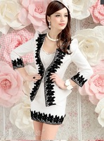 2013 autumn white black laciness elegant three quarter sleeve women's coat free shipping