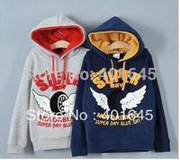 2014 new item autumn and winter child sweatshirt wings sweatshirt casual velvet hoodies boy top