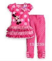 2013 new Retail Children's Suit girls clothes 100% cotton short sleeve dot t-shirt+pants 2 pcs Minnie mouse Clothing set summer