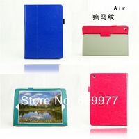 Free Shipping Crazy Horse Grain 2 Folding Smart Folio Leather Case Cover Stand For Apple iPad 5 Air