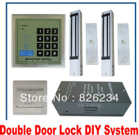 Free Ship Cheapest Cost Keypad + ID Card Access Controller Machine+2 Magnetic Lock+12V Power supply+Exit Button+ Keytag+ID Card