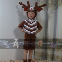 2013 costume hair accessory cartoon style short reindeer design parent-child dance clothes
