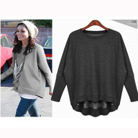 New Fashion o-neck Loose sweatshirt female casual batwing sleeve outerwear top plus size free shipping