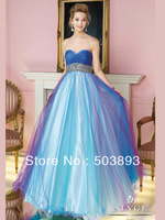 Free shipping blue prom dresses 2014 sexy long dress crystal prom dress women prom gown