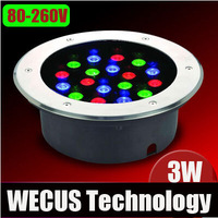 Led underground lamp light spotlights colorful rgb high power outdoor 3w 7 colour