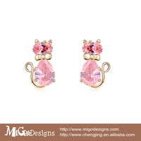 Migodesigns Cat Stud Earrings 18K True Gold Plated AAA CZ Diamond Animal Earrings For Children