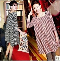 Fashion Free 2013 Stripe Half Sleeve Loose Women Expansion Skirt Expansion Underdress Big Size Dress Women's ONE-PIECE DRESS