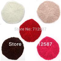 New Fashion 10 Colors Warm Winter Women Beret Braided Baggy Beanie Hat Ski Cap  free shipping 5430