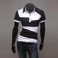 [M-72]HOT!Free Shipping Black and white personality color matching new irregular short-sleeved POLO male short-sleeved