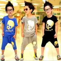 2013 summer new children suit boys skull tide models 2 sets