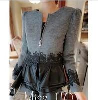 2013 women's slim woolen patchwork PU lace short jacket female