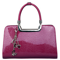 Crocodile 2013 women's crocodile pattern cowhide japanned leather handbag women's bags