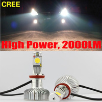 Set H8 25W+10W CREE LED High Power Car Truck White Headlight Fog Bulb DRL 2000LM 12V