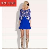 DEIVE TEGER2013 Designer European  Blue O-Neck Half Sleeves Above Knee Throughout Eye Lash Lace Patchwork Women Silk Dress ED227