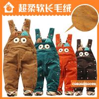 Cute Baby Denim Bib Pants Corduroy Trousers openable-crotch Toddler Boys Denim Bib Pants in autumn and winter