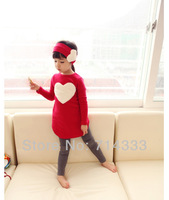 2013 Hot Autumn Love Heart Children Kids Clothing Set Girl's Clothes Suit Outwear T-shirt + Leggings + Headband Free Shipping