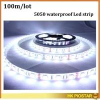 100M/Lot waterproof 12V 5050 SMD 5M/Reel 60LEDs/M LED Strip light  LED flexible Strip Ribbon Red Green Blue Yellow White/RGB