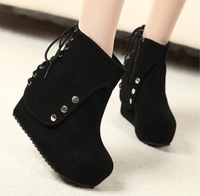 Free Shipping winter fashion boots elevator boots women's wedges shoes lacing shoes women's