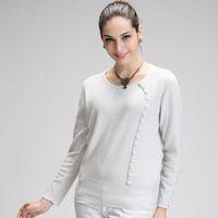 2013 women's o-neck tell crochet cashmere sweater fashion sweater basic sweater