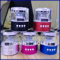 50pcs/lot mini crystal speaker audio subwoofer led display micro sd card /usb flash drive fm radio+ retail package 5colors