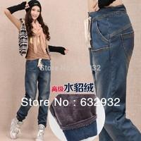 Warm Legging Pants Jeans 2014 Winter mink velvet pants big size + free shipping
