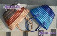gradient color transition paillette bag straw bag handmade bag beach bag brown blue