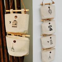 Bag storage bag wardrobe wall fabric bedside storage bag nostalgic fluid storage bags