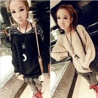 2013 autumn new arrival knitted pullover batwing shirt pearl beading long-sleeve o-neck sweater female