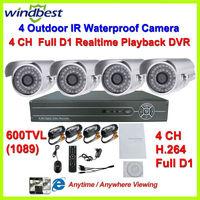 Freeshipping 600TVL 4CH H.264 Full D1 DVR Kit Security 36pcs IR LEDs Camera Surveillance Video System DIY CCTV Camera System